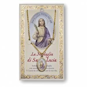 Medaglie: Medaglia Catenina Cartoncino Santa Lucia Preghiera ITA