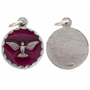 Medaglie: Medaglia Cresima Spirito Santo smalto rosso 18 mm