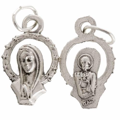Medaglia Madonna in preghiera metallo argentato 17 mm s1