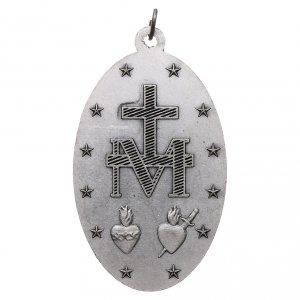 Medaglia Madonna Miracolosa metallo argentato 80 mm s2