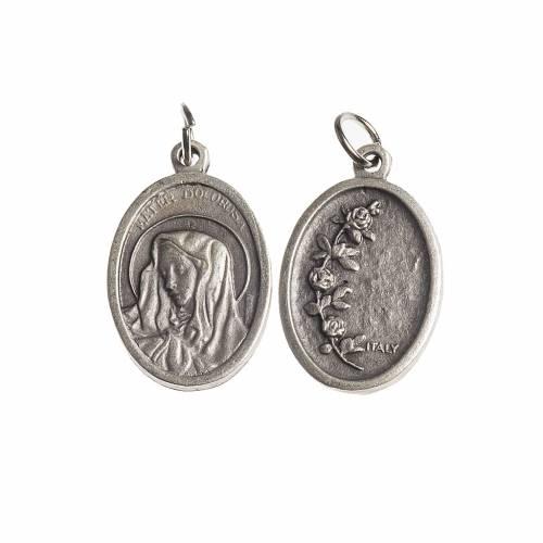 Medaglia Mater Dolorosa ovale galvanica argento antico s1