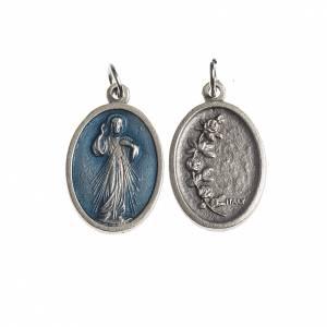Medaglie: Medaglia Misericordiosa ovale galvanica argento antico smalto az