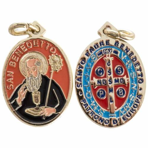 Medaglia San Benedetto ottone smaltato 26 mm s1