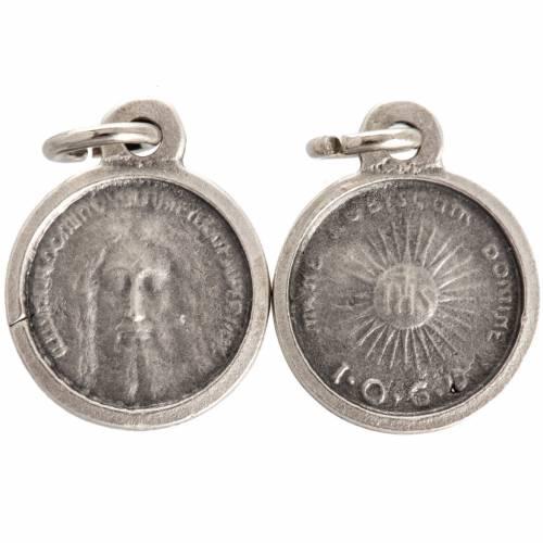 Medaglia volto Cristo tonda metallo argentato 16 mm s1