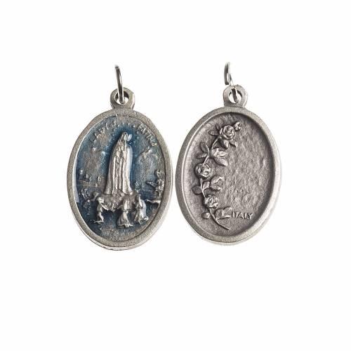 Médaille Fatima ovale émail bleu ciel s1