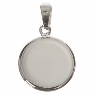 Médaille ronde argent 18mm Anges fleurs s2