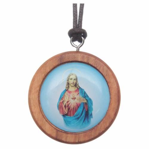 Médaille ronde bois d'olivier image Jésus s1