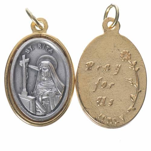 Médaille Sainte Rita métal doré argenté 2,5cm s1