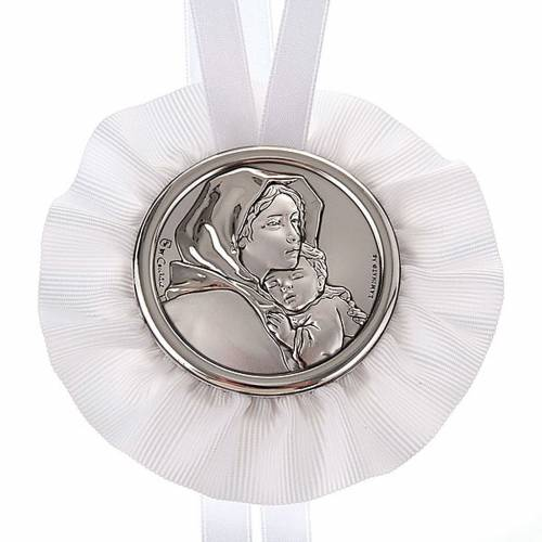 Medal, cradle decoration, Our Lady and baby s2