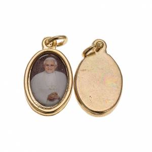 Medalla Benedicto XVI metal dorado resina 1,5x1cm s1