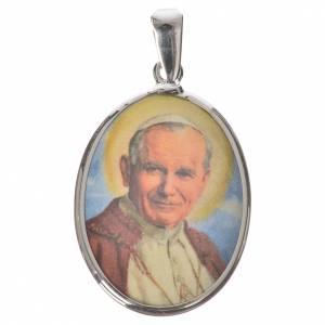 Colgantes, cruces y broches: Medalla ovalada de plata, 27mm Juan Pablo II