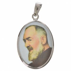 Colgantes, cruces y broches: Medalla ovalada de plata, 27mm San Pío de Pietrelcina