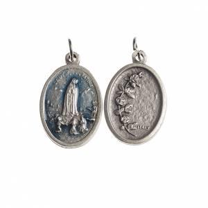Medalla ovalada Fátima galvánica esmalte azul s1