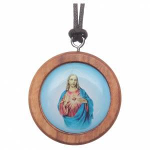 Colgantes Varios: Medalla redonda de madera de olivo imagen de Jesús.