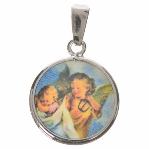 Medalla redonda de plata, 18mm Ángel guardián s1