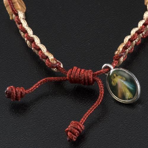 Medjugorje bracelet in olive wood, hearts and cord s4