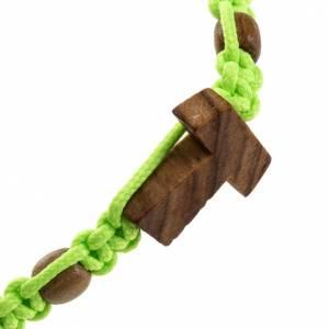 Medjugorje bracelet tau cross, olive wood grains and green cord s2