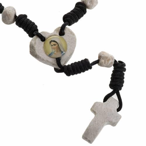 Medjugorje chaplet, stones, black cord, heart medal s1