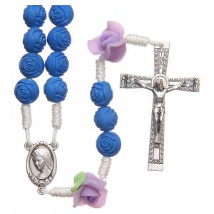 Rosaries and rosary holders: Medjugorje rosary beads with blue roses