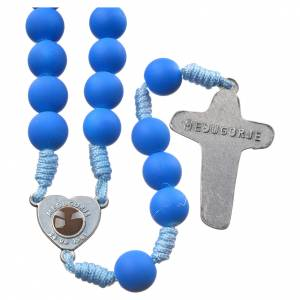 Rosaries and rosary holders: Medjugorje rosary in blue fimo with Medjugorje soil