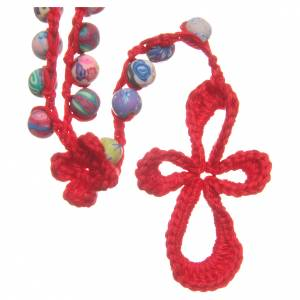 Rosaries and rosary holders: Medjugorje rosary in fimo and red cord
