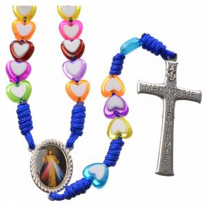 Rosaries and rosary holders: Medjugorje rosary in glass with coloured hearts