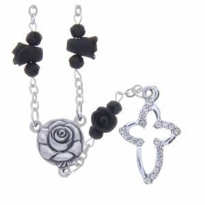 Rosaries and rosary holders: Medjugorje Rosary necklace, black with ceramic roses and grains in crystal
