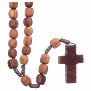 Rosaries and rosary holders: Medjugorje rosary with clasp, olive wood 7x8mm