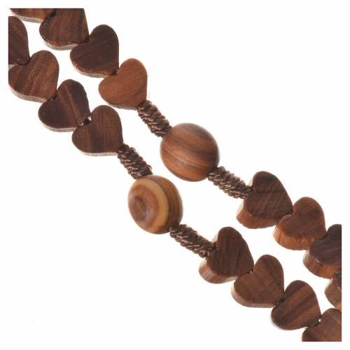 Medjugorje rosary, olive wood, heart grains s3