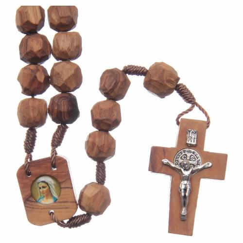 Medjugorje rosary with olive wood, cord, heart medal s1