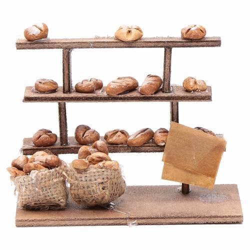 Mesa con pan para el belén madera y terracota s1