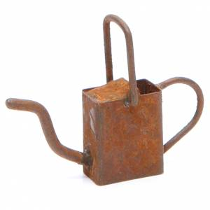 Miniature tools: Metal Watering can antique finish for DIY nativities