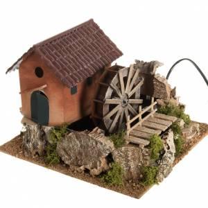 Mini moulin à eau et maison crèche Noel 24x29x29 s1