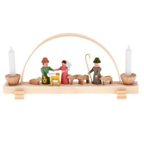 Mini nativity scene in wood, hand made with arch s1