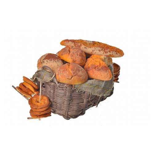 Mini panier de pain en cire pour crèche 10x7x8cm s2