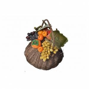 Mini panier fruits et kaki en cire pour crèche 10x7x8cm s2