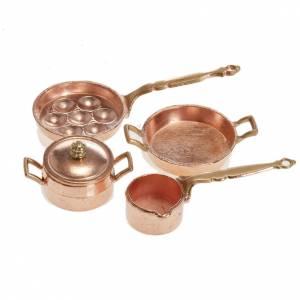 Accessoires maison en miniature: Mini-poêles et casseroles crèche lot 4 pc