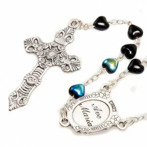 Miraculous Medal black glass rosary s2