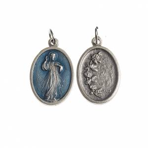 Medals: Miraculous Medal, oval antique silver with enamel