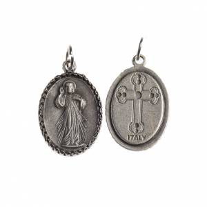 Miraculous Medal, oval with decorated edges, antique silver s1