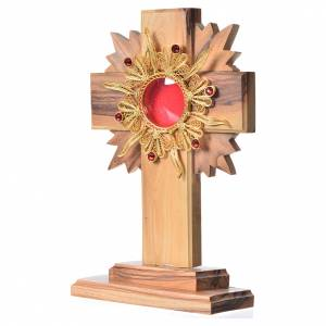 Monstrances, reliquaries in olive wood: Monstrance H15cm in olive wood with rays, display 800 silver sto