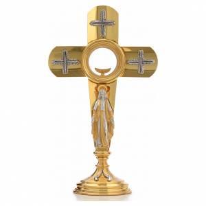 Monstrances, Chapel monstrances, Reliquaries in metal: Monstrance in brass, cross