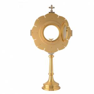 Monstrance in brass with red enamel s4