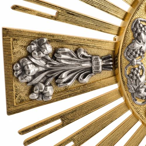 Monstrance in bronze with Evangelists and lilies H55cm s3
