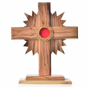 Monstrance in olive wood cross with rays, 20cm octagonal 800 sil s1