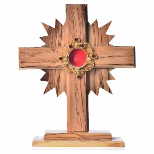 Reliquary in olive wood with rays H20cm, display 800 silver sto s1