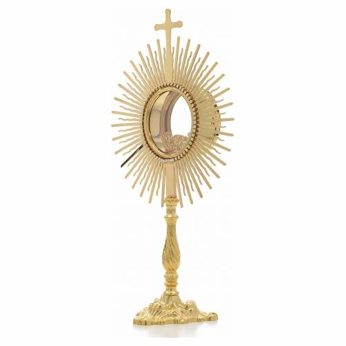 Monstrance, sun shaped, height 38cm, 8cm display case s2