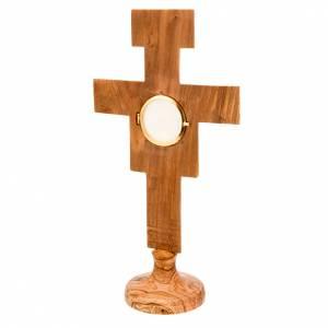Olivenholz Monstranzen, Custodien, Reliquiaren: Monstranz Oliven-Holz Kreus Heilig Damiano