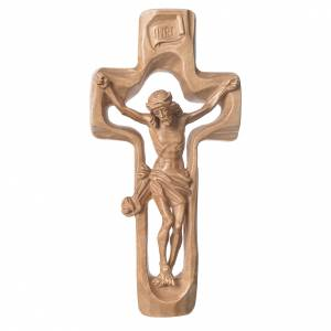 Wooden crucifixes: Moulded crucifix in patinated Valgardena wood