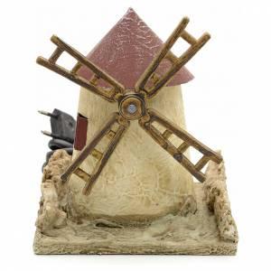 Moulins en miniature: Moulin à vent en bois mastiqué crèche 15x14